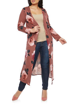 Plus Size Soft Knit Floral Print Duster - 1951072245626