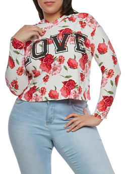 Plus Size Floral Love Graphic Hooded Top - 1951072246761
