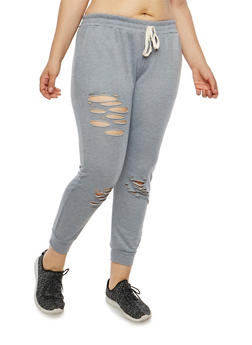 Plus Size Slashed French Terry Joggers - 1951074280126