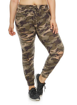 Plus Size Slashed Camo Print Joggers - 1951074280251