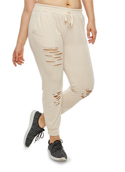 Plus Size Ripped Joggers - 1951074281026