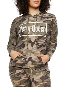 Plus Size Petty Queen Graphic Camo Sweatshirt - 1951074281252