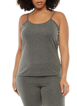 Plus Size Ribbed Knit Tank Top - 1951074289060