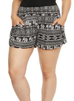 Plus Size Printed Shorts - BLK CREAM CRISP - 1960001441138
