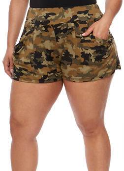 Plus Size Printed Shorts - 1960001441138