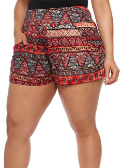 Plus Size Printed Shorts - CORAL - 1960001441138