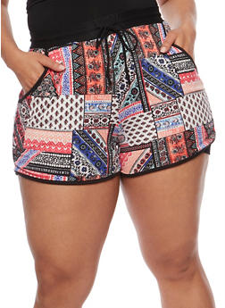 Plus Size Printed Shorts - PEACH COMBO - 1960001441214