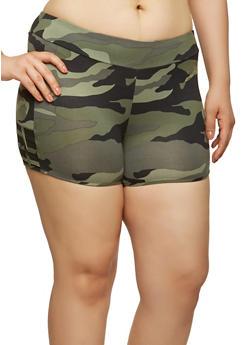 Plus Size Camo Print Mesh Insert Shorts - 1960001443702
