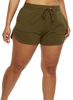 Plus Size French Terry Drawstring Shorts - 1960054260090