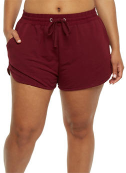 Plus Size French Terry Drawstring Shorts - BURGUNDY - 1960054260090