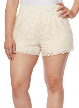 Plus Size Lace Shorts with Embroidered Waist - 1960054266760