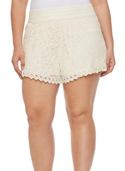 Plus Size Lace Shorts with Crochet Waist and Hem - 1960054267600