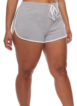 Plus Size Athletic Shorts with Contrast Trim - 1960054269396