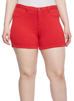 Plus Size Soft Knit Shorts with Roll Cuffs - 1960056570519