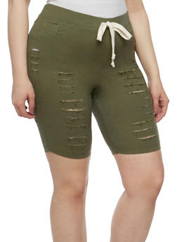Plus Size Slashed Knit Bermuda Shorts - 1960056576086