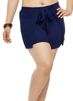 Plus Size Tie Front Shorts - 1960062706261