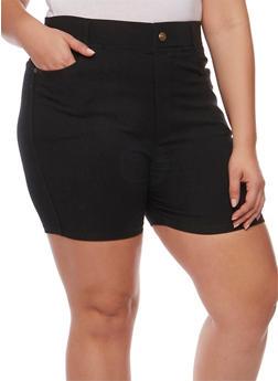 Plus Size Stretch Knit Shorts - 1960072716119