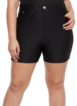 Plus Size Stretch Knit Shorts - 1960072719803