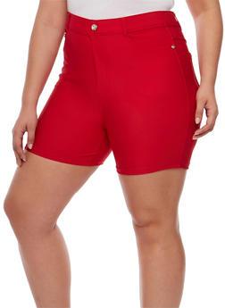Plus Size Stretch Knit Shorts - 1960072719803
