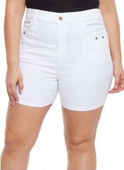 Plus Size Stretch Knit Shorts with Braided Trim - WHITE - 1960072719805