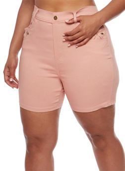 Plus Size Stretch Knit Shorts with Braided Trim - BLUSH - 1960072719805