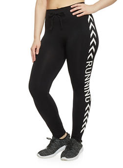 Plus Size Running Graphic Activewear Leggings - 1961001441266