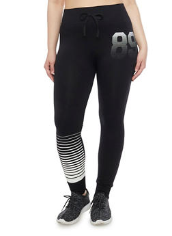 Plus Size 89 Graphic Athletic Leggings with Faux Drawstring - 1961001441268