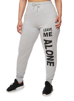 Plus Size Leave Me Alone Graphic Joggers - 1961033870099