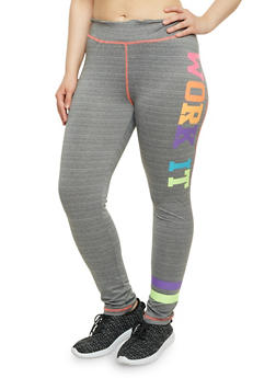 Plus Size Work It Graphic Activewear Leggings - 1961038341864
