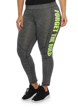 Plus Size Forget the Rules Graphic Leggings - 1961038341869