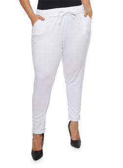 Plus Size French Terry Cuffed Sweatpants - WHITE - 1961051063472