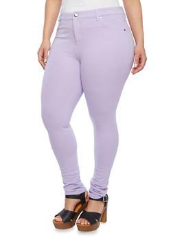 Plus Size Pastel Skinny Pants - 1961054260070