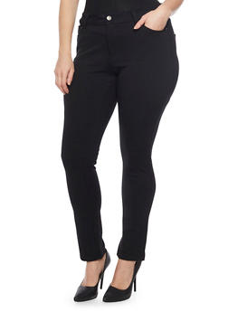 Plus Size Solid Ponte Knit Stretch Pants - 1961054265807