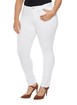 Plus Size Solid Ponte Knit Stretch Pants - WHITE - 1961054265807