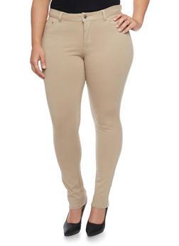 Plus Size Solid Ponte Knit Stretch Pants - 1961054265807