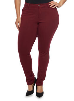 Plus Size Solid Ponte Knit Stretch Pants - BURGUNDY - 1961054265807