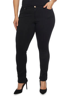 Plus Size Ponte Knit Push Up Skinny Pants with Five Pockets - 1961054269412