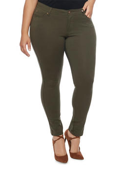 Plus Size Ponte Knit Push Up Skinny Pants with Five Pockets - OLIVE - 1961054269412