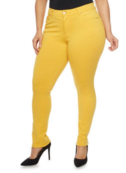 Plus Size Ponte Knit Push Up Skinny Pants with Five Pockets - MUSTARD - 1961054269412
