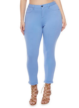 Plus Size Solid Cuffed Ankle Pants - 1961056570001
