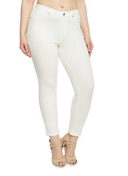 Plus Size Fixed Cuff Ponte Knit Skinny Pants - WHITE - 1961056570005