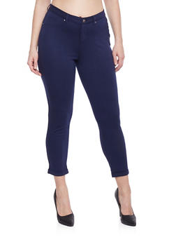 Plus Size Fixed Cuff Ponte Knit Skinny Pants - NAVY - 1961056570005