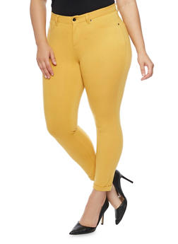 Plus Size Fixed Cuff Ponte Knit Skinny Pants - 1961056570005