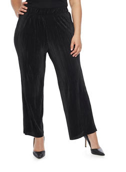 Plus Size Solid Pleated Palazzo Pants - BLACK - 1961056570012