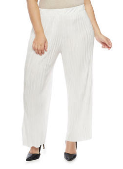 Plus Size Solid Pleated Palazzo Pants - IVORY - 1961056570012