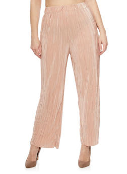 Plus Size Solid Pleated Palazzo Pants - 1961056570012