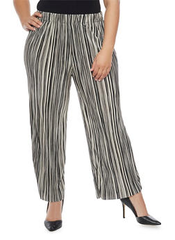 Plus Size Two Tone Crinkle Knit Palazzo Pants - 1961056570013