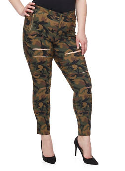 Plus Size Slashed Zip Trim Camouflage Pants - 1961056570112