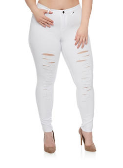 Plus Size Slashed Knit Pants - 1961056570170