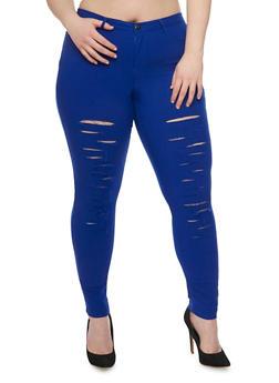 Plus Size Slashed Knit Pants - 1961056570170